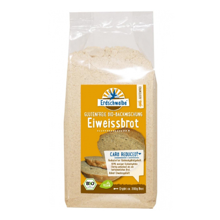 Erdschwalbe Eiweißbrot Backmischung glutenfrei 250g Beutel. Eiweißbrot kaufen. Eiweißbrot bestellen. Bio Eiweißbrot online kaufen