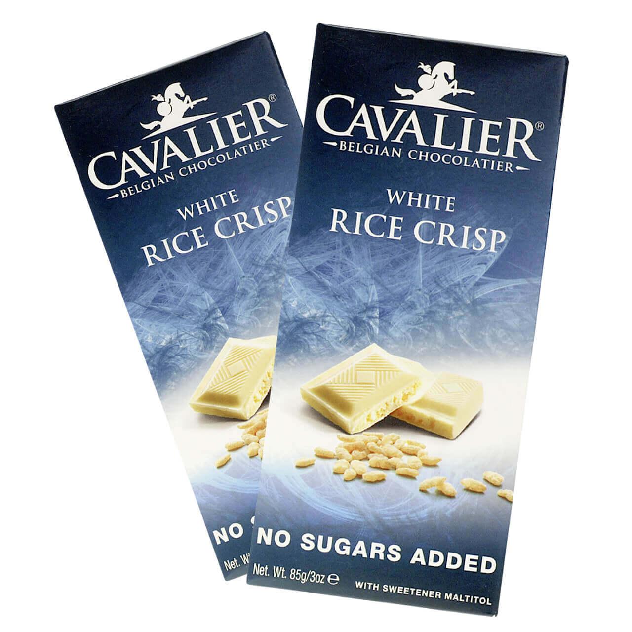 "Cavalier Schokolade ""Weiss Rice Crisp"" 85 g Tafel, zuckerfreie Schokolade. Schokolade ohne Zucker kaufen, Süßigkeiten ohne Zucker. zuckerfreie Süßigkeiten kaufen."