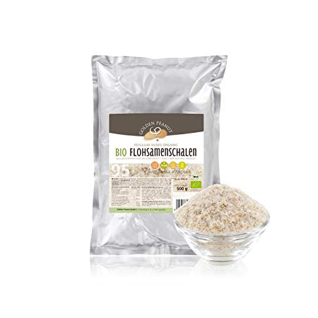 Golden Peanut Bio indische Flohsamenschalen 95% Reinheit naturbelassen 500 g. 100% natürlich! Bio Flohsamen Schalen online kaufen im Zucker-frei Shop