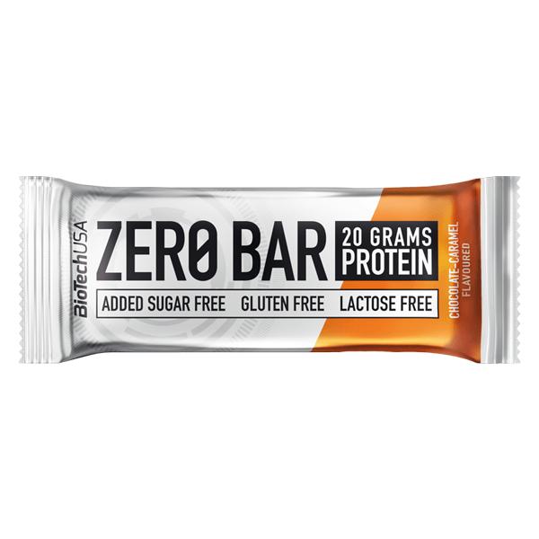 Biotech USA Zero Bar Schokolade-Karamell Proteinriegel 50 g, Zero Bar Karamell Schoko, Protein Riegel Zero Bar