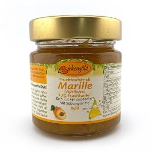 Birkengold Fruchtaufstrich Marille-Aprikose mit Xylit, Birkengold Fruchtaufstrich Marille-Pfirsich mit Xylit, Birkengold Fruchtaufstrich Marille-Pfirsich mit Xylit, 200 g Glas. Birkengold Aufstrich. Kein Zucker zugesetzt. Enthält von Natur aus Zucker. Birkengold >