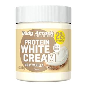 Body Attack Protein Schoko-Aufstrich White Cream Milky Vanilla 250 g kaufen. Low Carb Creme / Aufstrich von Body Attack, 250g. (22,1g Eiweiß / 100g). Protein Schoko Creme.