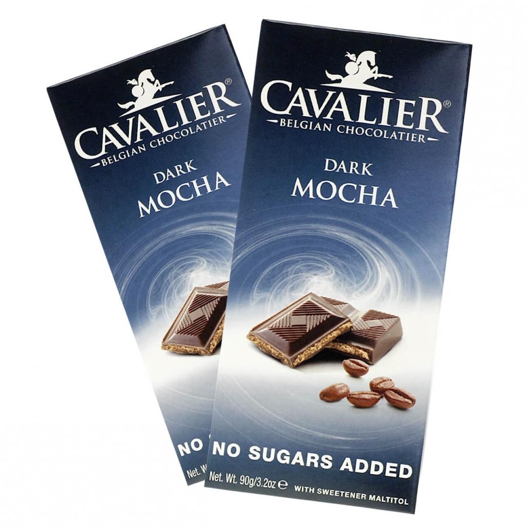 """Cavalier Schokolade """"Dark Mocha"""" 90 g Tafel, zuckerfreie Schokolade. Schokolade ohne Zucker kaufen. Schoko ohne Zucker kaufen und bestellen."""