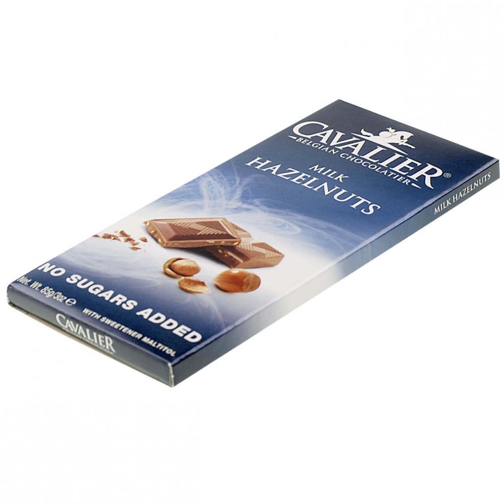 """Cavalier Schokolade """"Milch Haselnuss"""" 85 g. Zuckerfreie Schokolade, Low Carb Schokolade kaufen."""