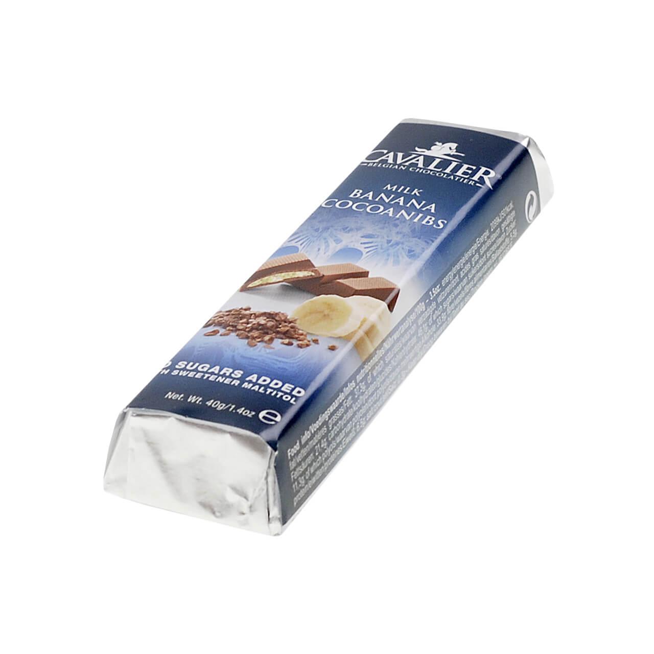 """Cavalier Schokoriegel """"Milch Banane Kakaosplitter"""" 42 g, Zuckerfreie Schokolade, Low Carb Schokolade kaufen."""