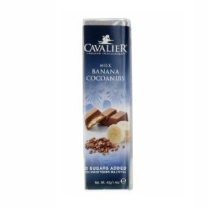 Cavalier Schokoriegel Milch Banane Kakaosplitter 42g. Cavalier Schokolade kaufen. Sorte: Mlich Banane. 42g Tafel / Riegel. Online Cavalier Schokolade kaufen