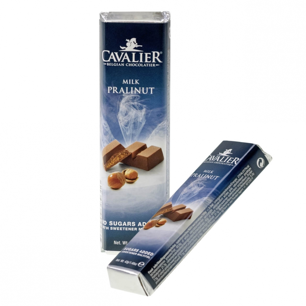 Cavalier Schokoriegel Milch-Praline-Nuss 42 g, Zucker-frei Online Shop kaufen. Belgische Low Carb Schokoriegel günstig online kaufen. Cavalier Schoko kaufen