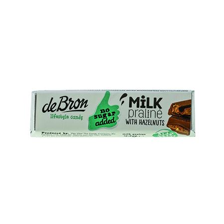 De Bron Low Carb Schokoriegel Praline-Haselnuss 42 g, Low Carb Schokolade