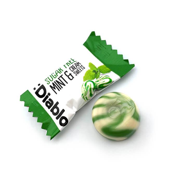 Diablo zuckerfreie Bonbons Pfefferminz-Sahne. Sahne Bonbons kaufen im Shop. Online Sahne Bonbons kaufen