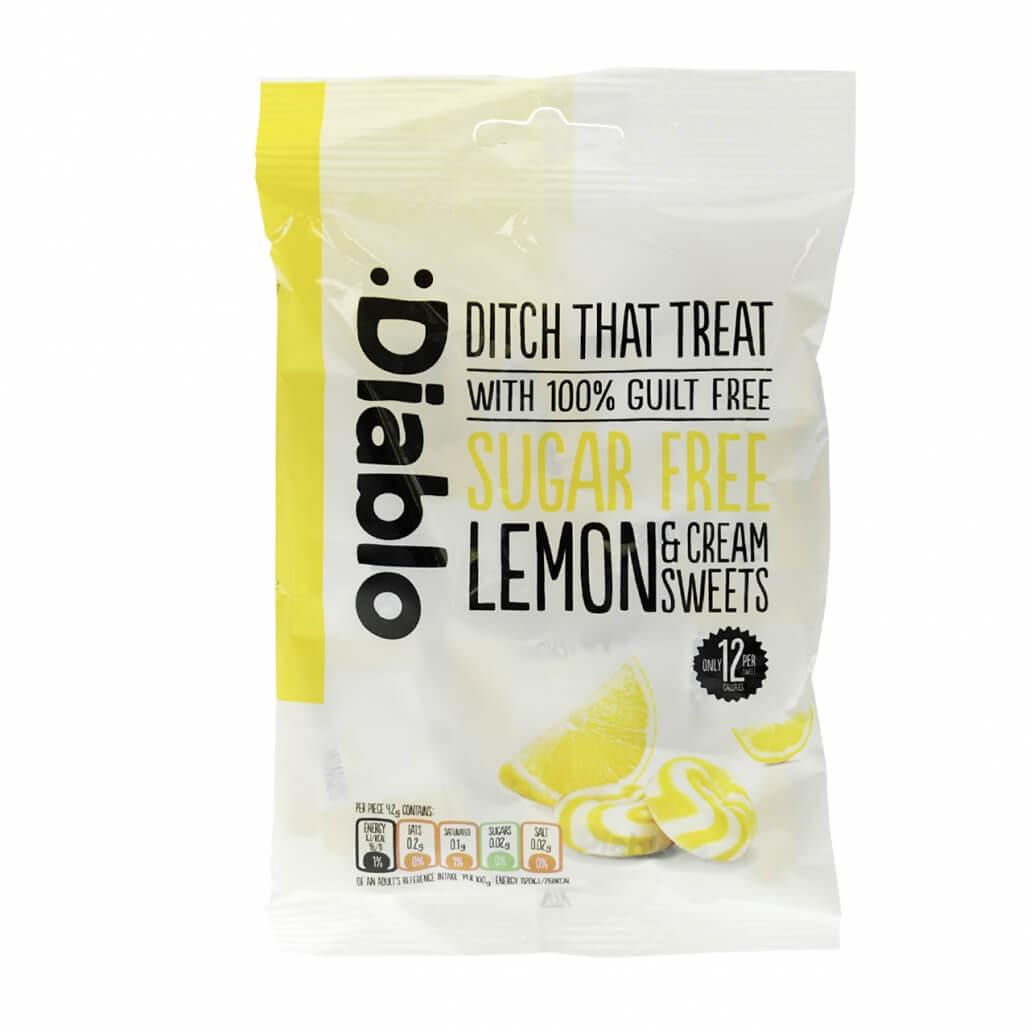 Diablo zuckerfreie Bonbons Zitrone Sahne Bonbons ohne Zuckerzusatz