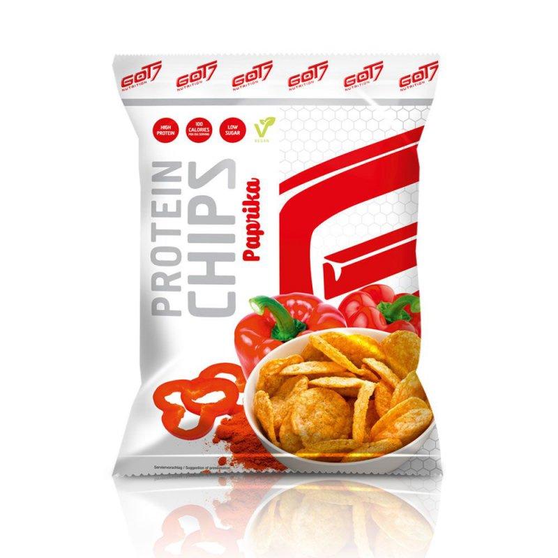 GOT7 High Protein Chips Paprika Beutel 50 g. Low Carb Chips / Protein Chips mit 40g Protein / Eiweiß. Protein Chips Fitnesssnack mit hochwertigem Protein