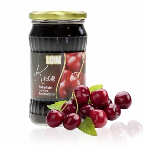 LCW Gourmet Fruchtaufstrich Kirsche. Fantastisch süß & fruchtig, ohne Zuckerzusatz, kalorienarm, hoher Fruchtgehalt: 136 g Früchte in einem Glas, 340 g