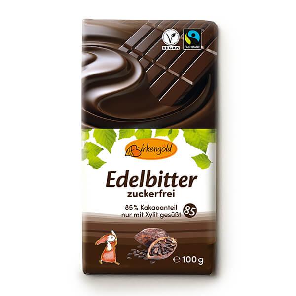 Birkengold Xylit Schokolade Edelbitter 100 g. Nur mit Xylit gesüßt. Ohne Zuckerzusatz. Birkengold Xylit Schokolade mit 85% Kakaoanteil online kaufen.