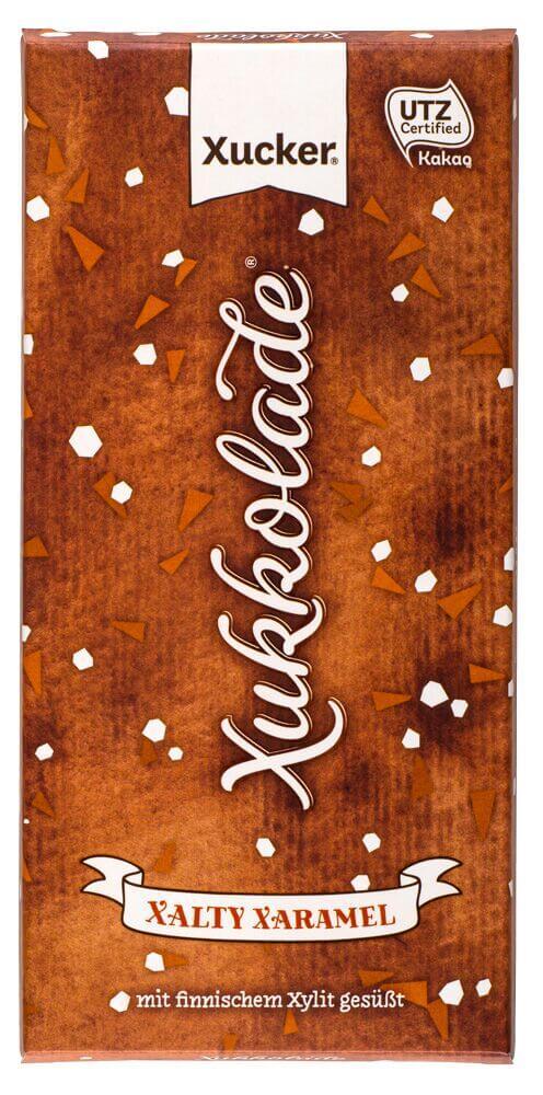 """★ Sonderangebot ★ Xylit-Schokolade mit Salz und Karamell (""""Xalty Xaramel"""") 100 gr. Tafel MHD 06/2018"""
