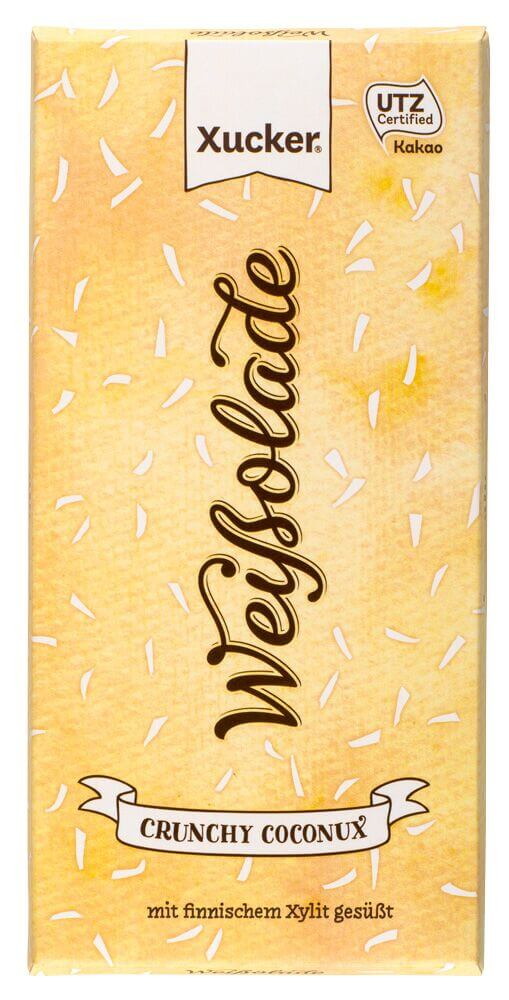 Weiße Xylit-Schokolade mit Kokos und Weizenflakes 100 gr. Tafel