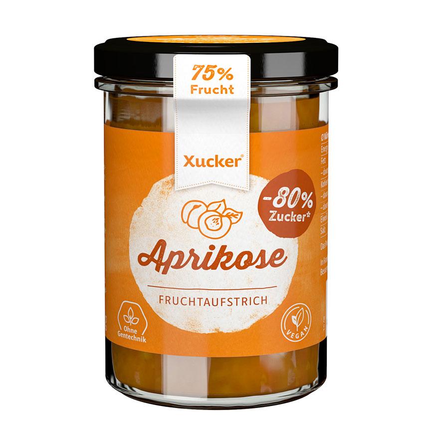 Aprikose Fruchtaufstrich mit Xylit von Xucker, XUCKER Aprikose Fruchtaufstrich 74% mit Xylit 220 g Glas, Xylit (Birkenzucker) Fruchtaufstrich von XUCKER. Vegan, gentechnikfrei, zuckerfrei, mit Xylit!