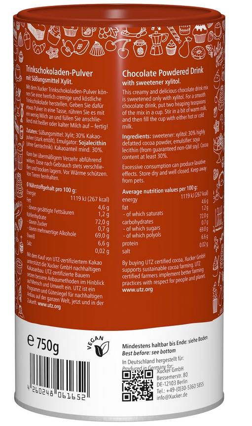 """Xucker """"Hot Chocolate"""" Trinkschokoladen-Pulver mit Xylit 750 g Dose"""