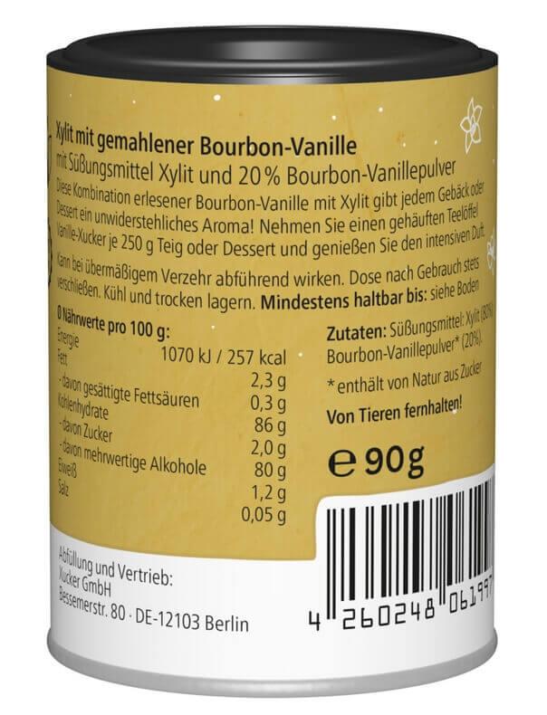 Xylit Vanille-Xucker mit 20% Vanillepulver 90 g Dose