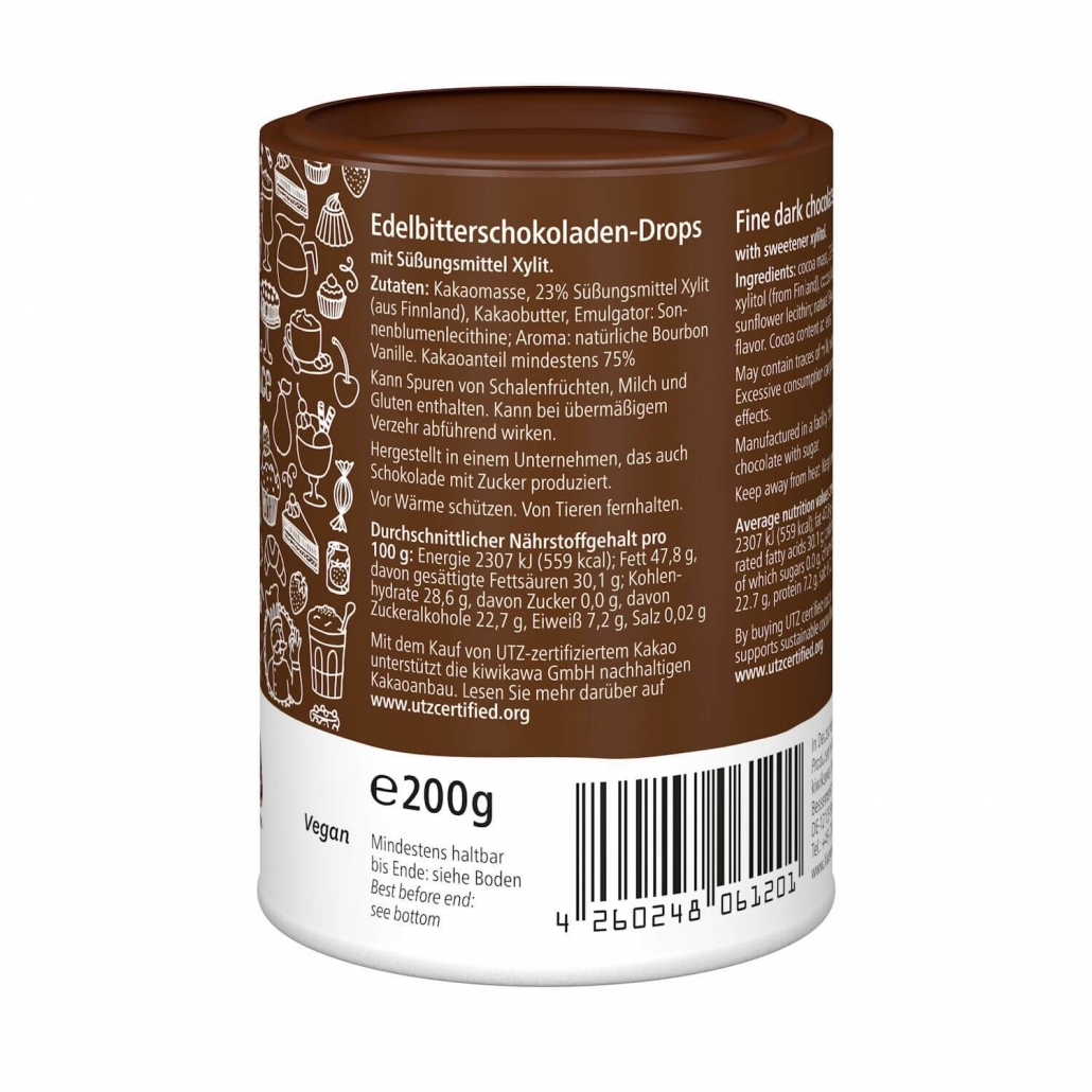 Xylit Xucker Schoko-Drops 75% 200 g Dose