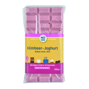 Handgeschöpfte Schokolade zuckerfrei Himbeer Joghurt No Sugar Sugar