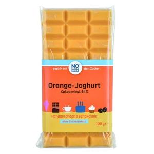 Handgeschöpfte Schokolade zuckerfrei Orange Joghurt No Sugar Sugar kaufen. Zuckerfreie Schokolade, gesüßt mit Xylit. Weisse Orange Joghurt Schokolade kaufen