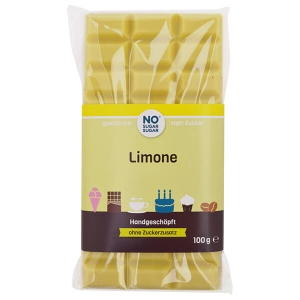 Handgeschöpfte Schokolade zuckerfrei zarte Limone No Sugar Sugar 100g kaufen. Schokolade ohne Zucker, gesüßt mit Erythrit kaufen. Low Carb Schoko kaufen!