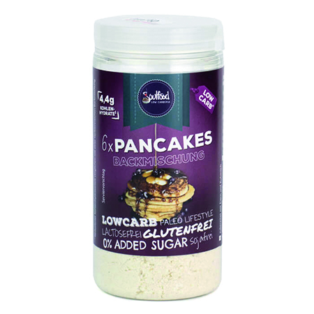 Low Carb Pancakes Soulfood LowCarberia glutenfrei. Low Carb Pancakes, Low Carb Pfannkuchen kaufen. Backmischung Low Carb Pfannkuchen online bestellen. Low Carb Pancakes kaufen.