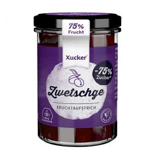 XUCKER Zwetschke Fruchtaufstrich 74% mit Xylit 220 g Glas kaufen. Zuckerfreie Marmelade, gesüßt mit Xylit (Birkenzucker) ohne Zuckerzusatz online kaufen!