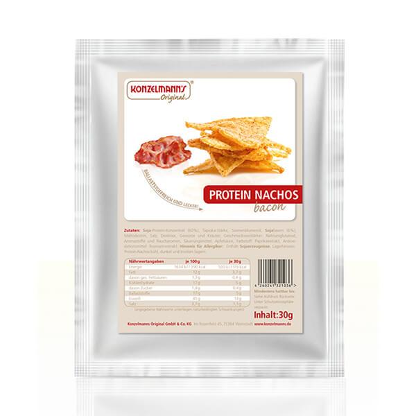 Konzelmanns Original Low-Carb Knabbergebäck Protein Nachos Bacon Speck 30 g Beutel kaufen. Protein Nachos 42 g Eiweiß / 100 g. Protein Nachos online kaufen!
