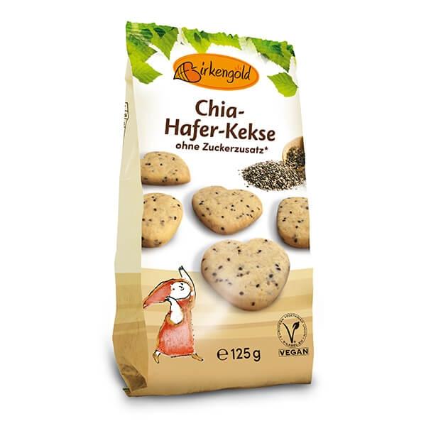 Birkengold Chia-Hafer-Kekse mit Xylit 125 g online kaufen. Birkengold Hafer Kekse ohne Zucker online kaufen. 7,2g Eiweiß, mit Xylit 40% weniger Kalorien.