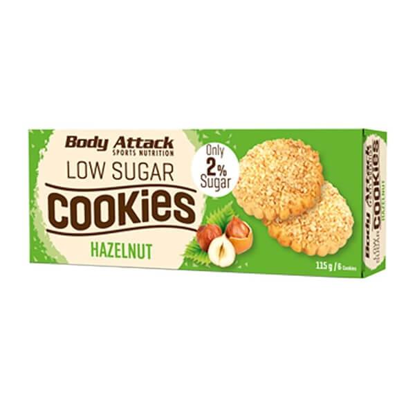 Body Attack Low Sugar Cookies Kekse Hazelnut - Haselnuss 115 g Packung kaufen. Body Attack Low Sugar Cookies Kekse Haselnuss, zuckerarm, 12g Protein,...