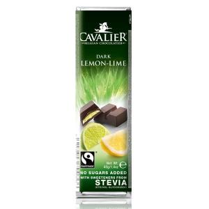 Cavalier Stevia Schokoriegel Dark Lemon-Lime Zartbitter Zitrone 40 g kaufen. Zuckerfreie Schokolade, Cavalier Stevia Schokoriegel kaufen im Low Carb Shop!