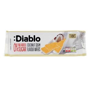 Diablo Coconut Cream Flavour Wafers Waffel ohne Zuckerzusatz 160 g. Low Carb Waffel gesüßt mit Xylit, Maltit und Sucralose. Diablo Kokos Waffel kaufen!