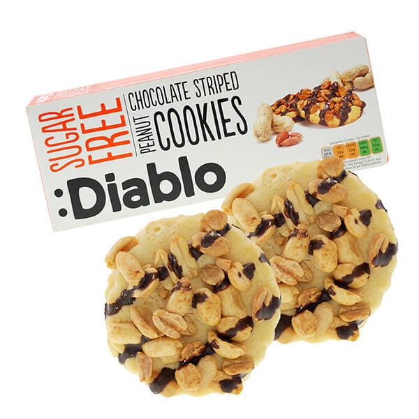 Diablo zuckerfreie Kekse Chocolate Striped Peanut Cookies 150 g online kaufen. Zuckerfreie Kekse gesüßt mit Maltit. Diablo Kekse ohne Zucker Zusatz kaufen!