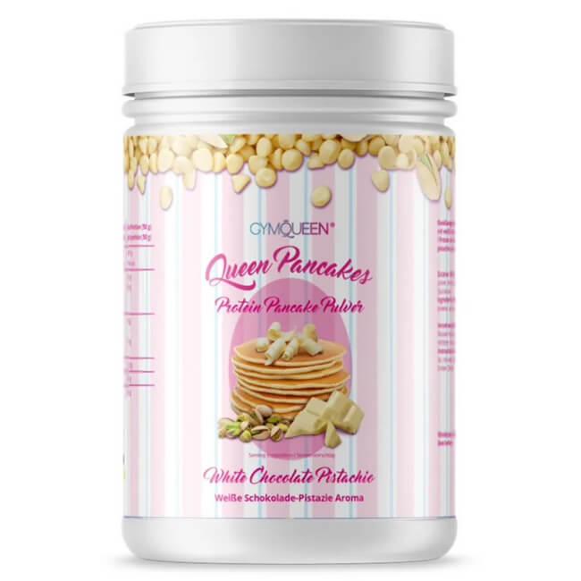GymQueen Queen Pancakes Backmischung Weisse Schokolade Pistazie 500 g Dose. Die Protein Pancakes / Protein Pfannkuchen in Weisse Schokolade Pistazie!