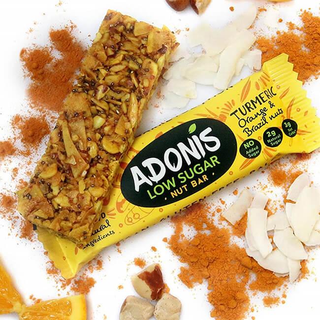 Adonis Nussriegel Müsliriegel Low-Carb glutenfrei vegan paleo Kurkuma Orange Paranüsse Kakao 35 g Riegel. Adonis Nuss Riegel, Müsliriegel online kaufen
