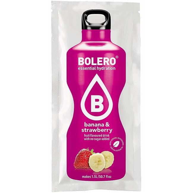 Bolero Instant Banane Erdbeer Getränkepulver. Bolero Instant im 9 g Beutel kaufen! Bolero Instant Erfrischungs Getränkepulver 9g Beutel für fertiges Getränk