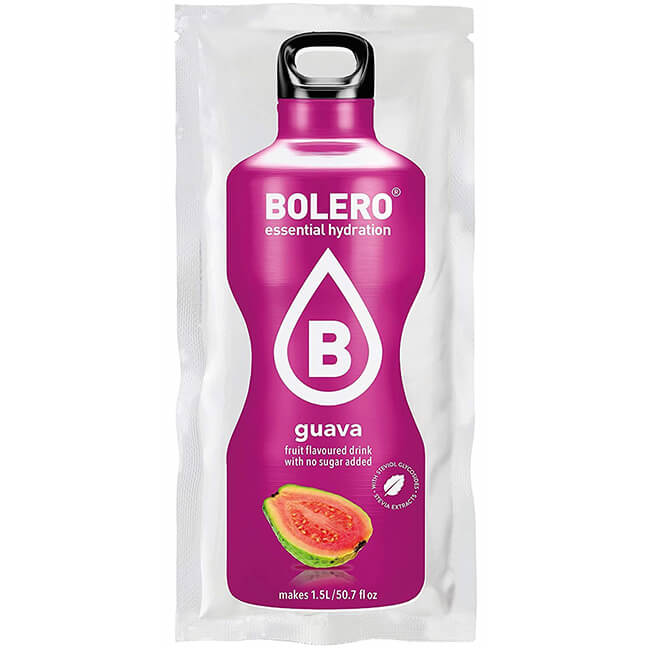 Bolero Instant Guava Getränkepulver. Bolero Instant im 9 g Beutel kaufen! Bolero Instant Erfrischungs Getränkepulver Beutel für fertiges Getränk