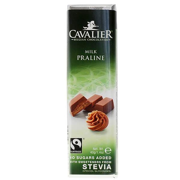 Cavalier Stevia Schokoriegel Milk Praline Haselnusscreme 40 g. Zuckerfreie Schokolade mit Stevia