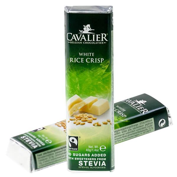 Cavalier Stevia Schokoriegel Weisse Rice Crisp 40 g. Zuckerfreie Schokolade mit Stevia