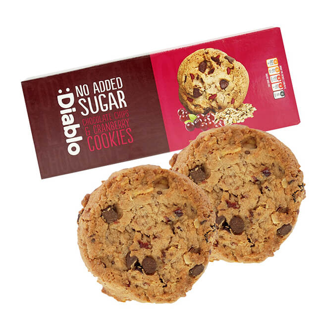 Diablo Chocolate Chip Cookies & Cranberries zuckerfreie Kekse 135 g kaufen. Kekse ohne Zucker Zusatz von Diablo kaufen. Kalorien reduzierte Kekse kaufen!