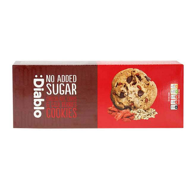Diablo Chocolate Chip & Gojibeeren Cookies zuckerfreie Kekse 135 g kaufen. Kekse ohne Zucker Zusatz von Diablo kaufen. Kalorien reduzierte Kekse kaufen!