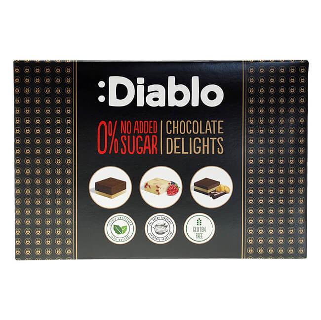 Diablo Chocolate Delights mit Stevia ohne Zuckerzusatz Pralinen Luxus Geschenkbox 115 g kaufen. Diablo Pralinen ohne Zucker kaufen. Zuckefreie Pralinen ...