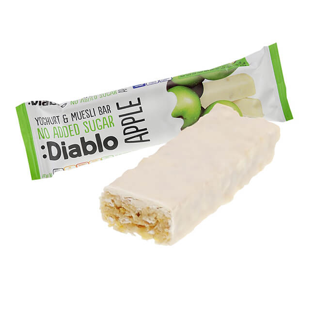 Diablo Müsliriegel ohne Zuckerzusatz Apfel-Joghurt 30 g online kaufen. Diablo Müsli Riegel ohne Zuckerzusatz. Idealen Müsliriegel Low Carb Snack kaufen