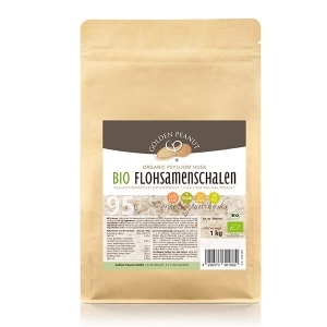 Golden Peanut Indische Bio Flohsamenschalen 95% Reinheit höchste Quellzahl allergenfrei glutenfrei vegan 500 g Beutel. Bio-Flohsamenschalen online kaufen!