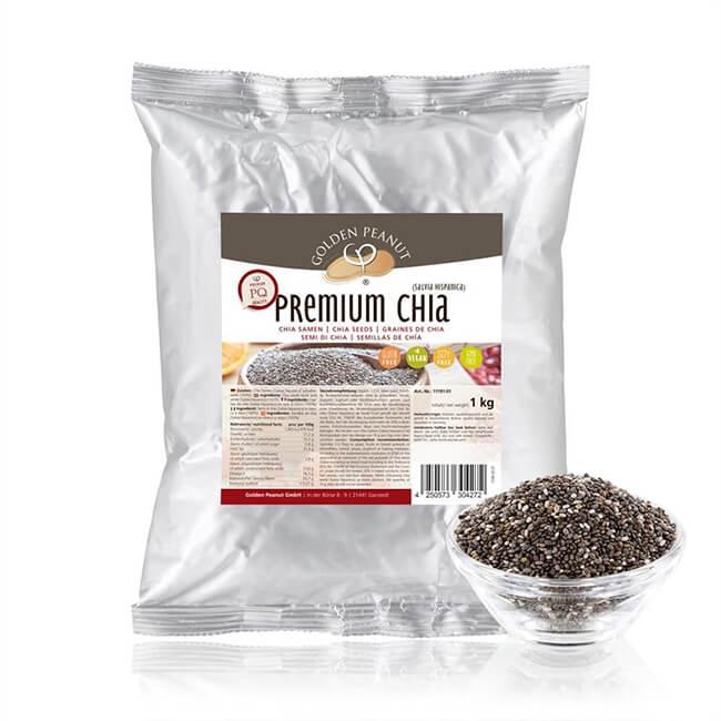 Golden Peanut Premium Chia Samen (Salvia hispanica) Ursprung Bolivien 1 kg Beutel. Golden Peanut Premium Chia Samen online kaufen zum TOP Preis!