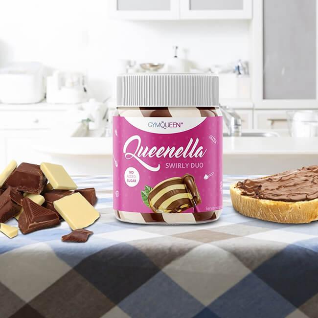 GymQueen Queenella Schoko Haselnuss Creme weise Schokolade 250 g