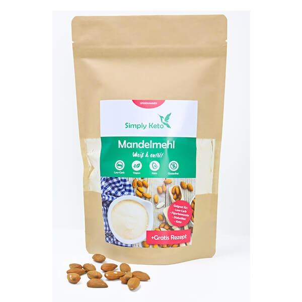 Simply Keto Mandelmehl weiß entölt glutenfrei keto paleo 500 g Beutel. Reich an Ballaststoffen & pflanzlichem Protein.Low CarbMandelmehl / Low Carb Mehl.