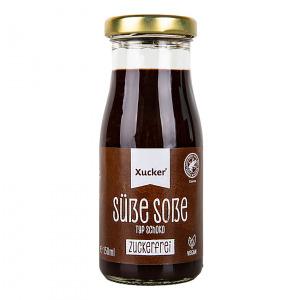 Xucker Süße Soße Typ Schoko Dessertsauce mit Xylit 150 ml Glasflasche. gesüßt mit Xylit. Perfekt zum Verfeinern von Low Carb Kuchen, Protein Pancakes