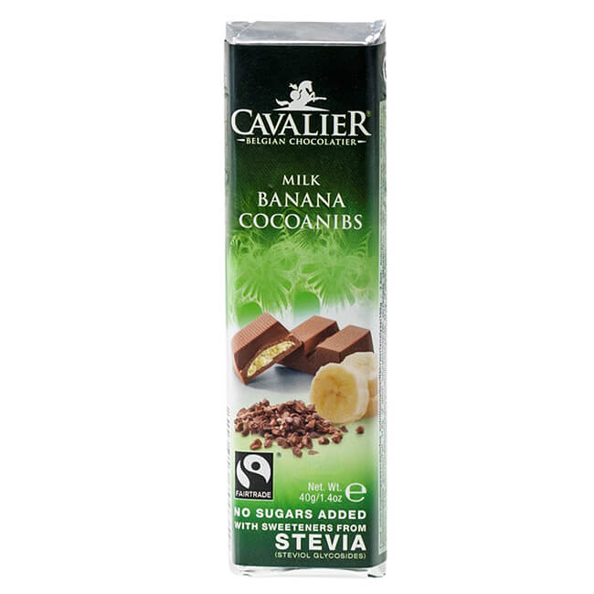Cavalier Stevia Schokoriegel Milch-Banane-Kakaonibs 40 g. Schokolade ohne Zucker Zusatz, gesüßt mit Erythrit & Stevia. Cavalier Schokolade online kaufen!